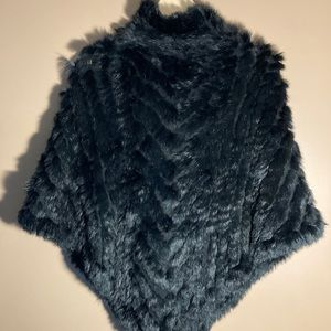 J. McLaughlin rabbit fur mock neck black poncho